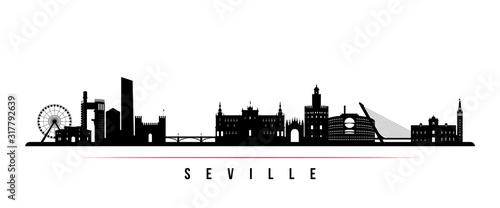 Fototapeta premium Baner poziomy Sevilla skyline. Czarno-biała sylwetka Sewilli, Hiszpania. Szablon wektor dla swojego projektu.