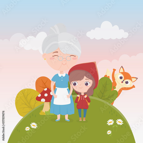 little red riding hood with grandma and wolf nature fairy tale