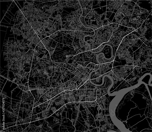 Fotografia map of the city of Ho Chi Minh City, Vietnam