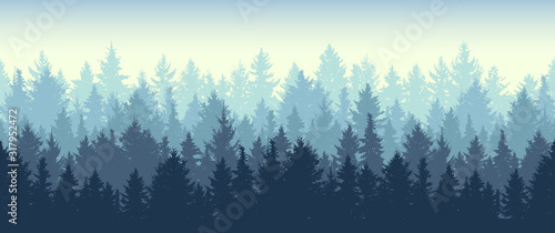 Seamless coniferous winter forest background. Nature, landscape. Pine, spruce, christmas tree. Fog evergreen coniferous trees. Silhouette vector illustration