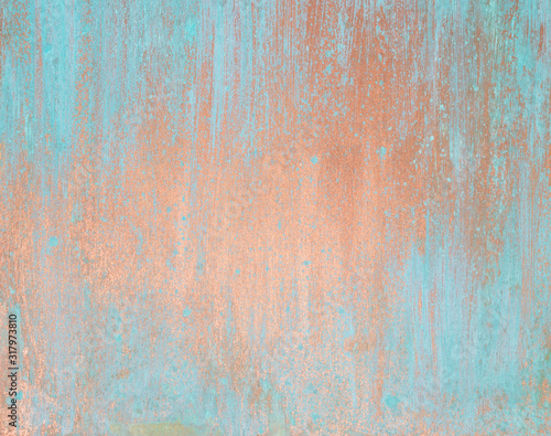 Canvas Print The texture of the copper background is covered with a patina