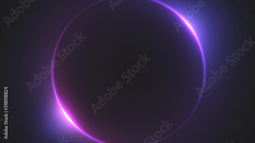 Fotografie, Obraz Template for text : Blue and purple neon glowing glare circle with rays