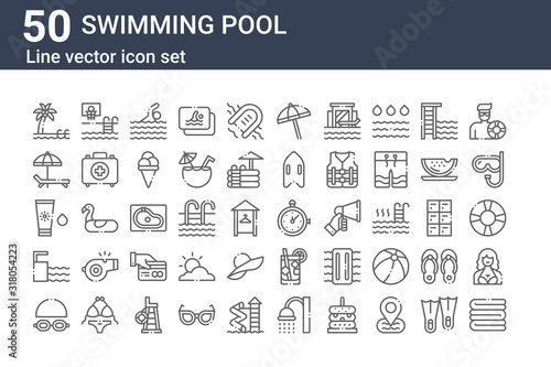 Tableau sur Toile set of 50 swimming pool icons