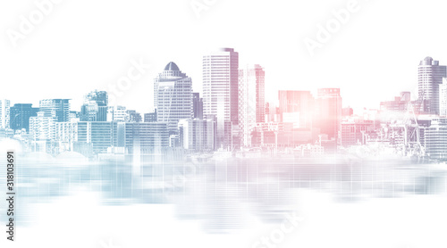 Valokuva Abstract city building skyline metropolitan area in contemporary color style and futuristic effects