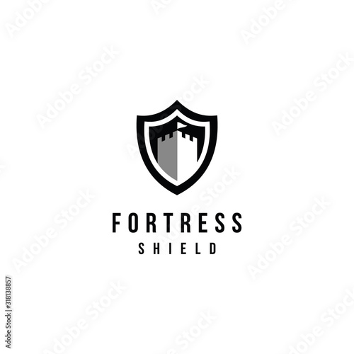 Canvas Print Vector castle and shield logo combination