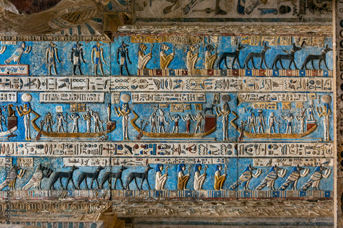 Canvastavla Hieroglyphic carvings in ancient egyptian temple