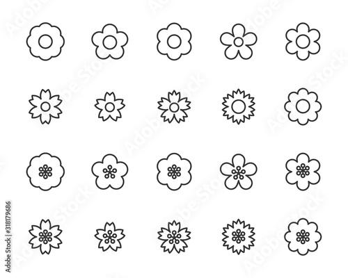 set of flower icons, floral, spring
