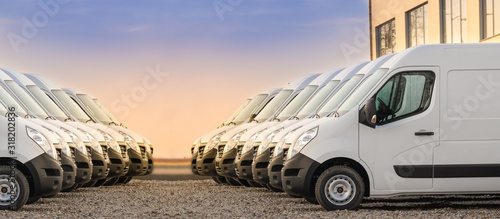 Fotografie, Obraz commercial delivery vans parked in two rows
