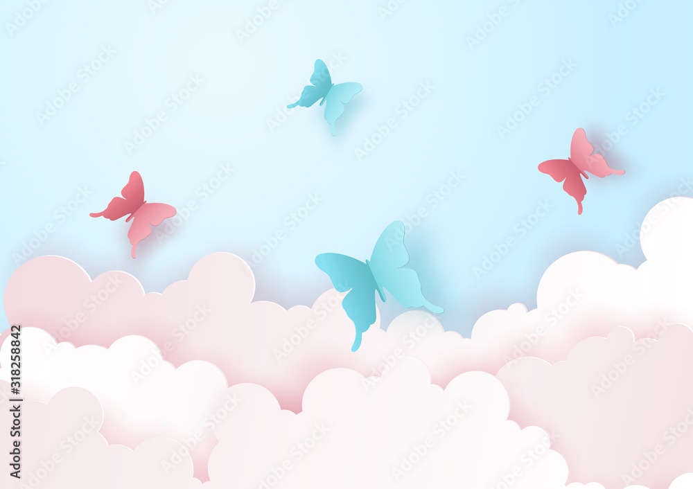 Paper art and craft of nature and landscape concept with flying butterfly on the sky over the cloud. Vector illustration eps10. <span>plik: #318258842 | autor: Baramee</span>