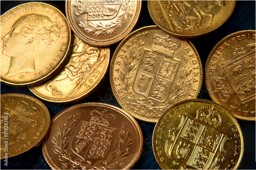 Stampa su Tela A collection of gold sovereigns