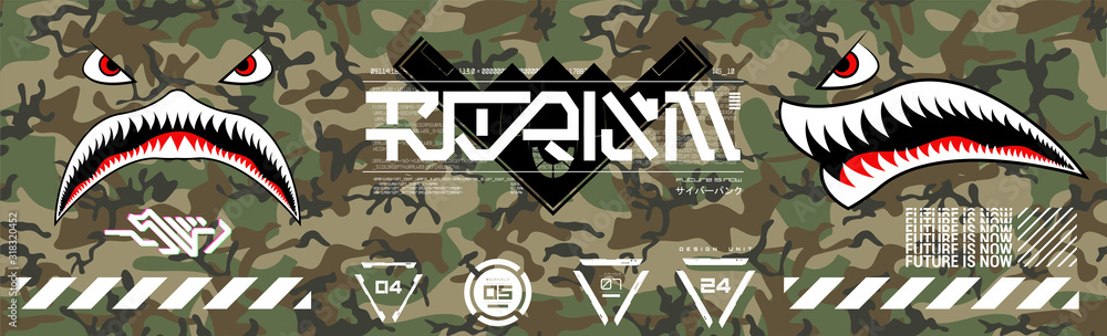 Military prints for clothes, T-shirts and other merchs. Futuristic lettering and design elements on a seamless camouflage background. Modern clothes for the city. Trendy Digital Prints set. Vector <span>plik: #318320452 | autor: SergeyBitos</span>