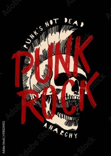 Fototapeta Punk rock skull with mohawk haircut music print design vector illustration