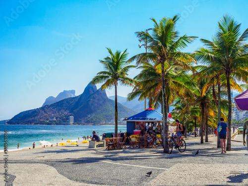 Ipanema beach and Arpoador beach with in Rio de Janeiro, Brazil. Ipanema beach is the most famous beach of Rio de Janeiro, Brazil. Cityscape of Rio de Janeiro.