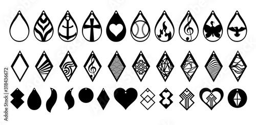Valokuvatapetti earring vector set collection graphic clipart design