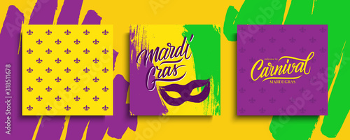 Fotografia Mardi Gras celebrate cards set with calligraphic lettering text design, brush stroke background and carnival mask