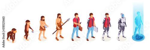 Fototapeta Human evolution of man from ape monkey to digital world technology, life development process vector icons