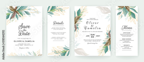 Fotografía Set of cards with greenery decoration