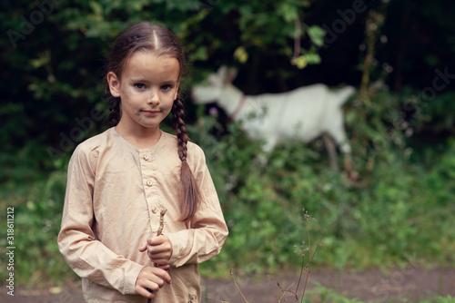 Fotografie, Tablou Little girl goatherd in forest