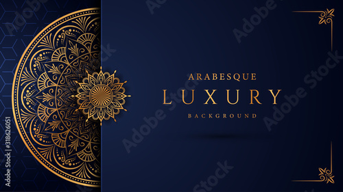 Tableau sur Toile Luxury mandala background with golden arabesque pattern arabic islamic east style