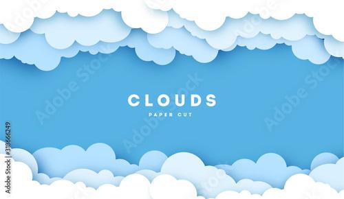Fotografija White Cloud on blue sky paper cut design