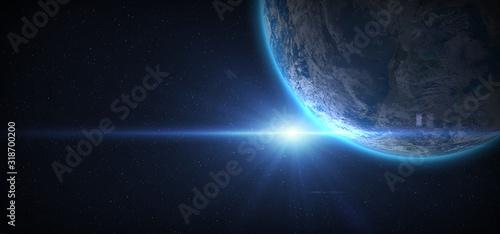 Valokuva Planet Earth and Sun.
