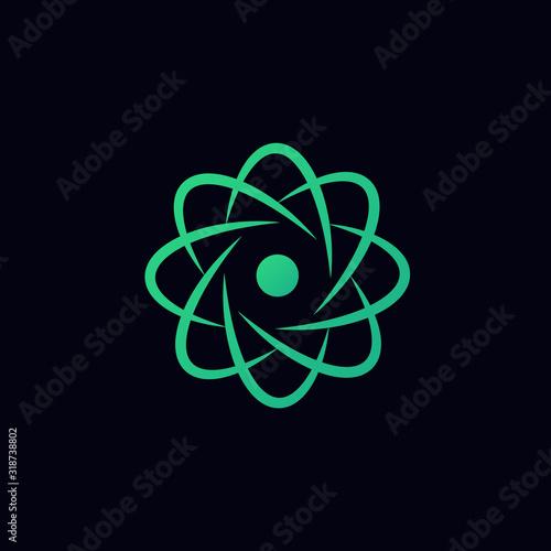 Photographie scientific atom symbol, abstract creative logo, simple icon.