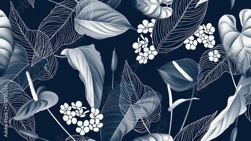 Naklejka na szafę z modnym wzorem w kwiaty do sypialni