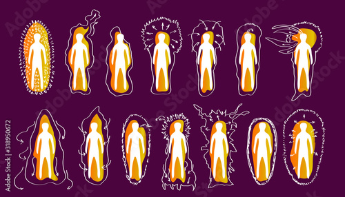 Canvastavla Vector variants of the iridescent Golden aura of a person