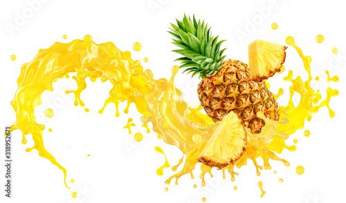 Fotografia Fresh ripe pineapple, slices cut and pineapple juice splash wave