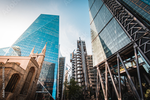 Canvas Print From left to right - St Andrew Undershaft Church, The Scalpel, Lloyd's of London