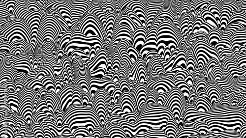 Fototapeta premium Modne czarno-białe paski 3D zniekształcone tło. Krajobraz streszczenie hałasu. Proceduralne tętnienie tła z efektem złudzenia optycznego.