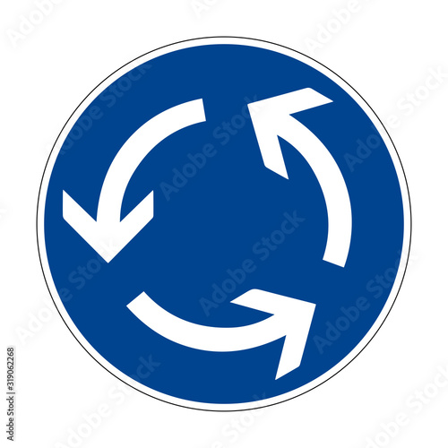 Circular motion. Road sign of Germany. Europe. Vector graphics.