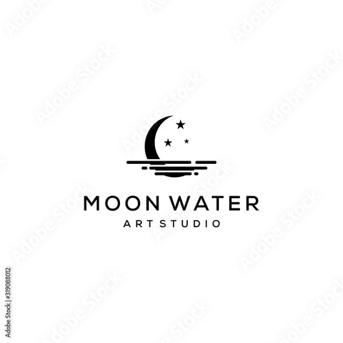 Photo Creative modern Crescent moon with water Concept Logo Design template
