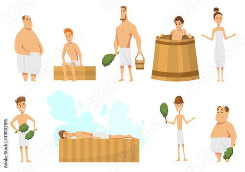 Cuadros en Lienzo Collection of people bathing in sauna or banya full of steam