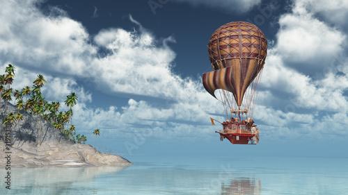 Photo Fantasie Heißluftballon über einer Insellandschaft