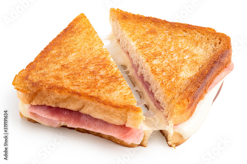 Photo Cheese and ham toasted sandwich.