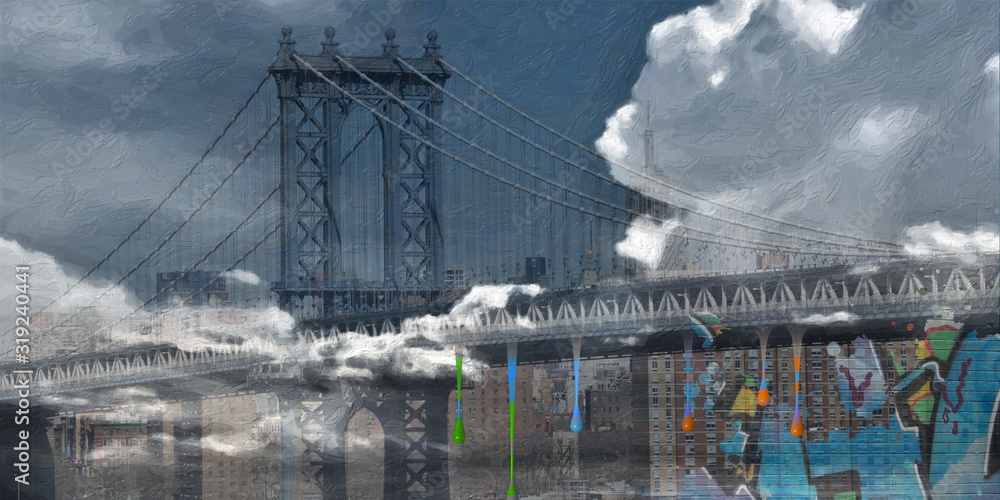 Surreal digital art. Manhattan bridge on New York's cityscape. Giant moon, pieces of graffiti
