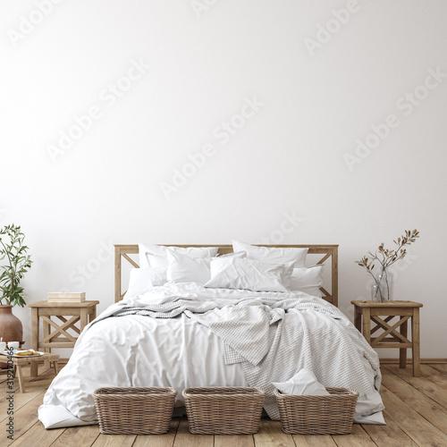 Valokuva Scandinavian farmhouse bedroom interior, wall mockup, 3d render