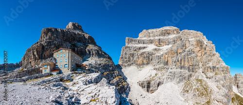Obraz na płótnie Pedrotti hut, view of Brenta Bassa and Brenta Alta in Brenta Dolomites (IT)