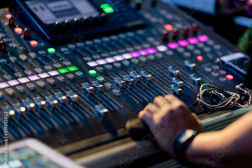 Fotografering sound check for concert, mixer control, music engineer, backstage