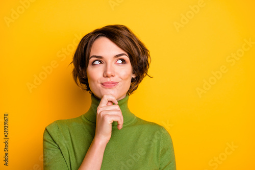 Fotomural Closeup photo of amazing short hairdo lady looking up empty space deep thinking