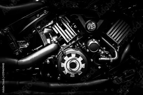 Vászonkép Motorcycle engine block closeup chopper bike vintage tone industrial arts and design