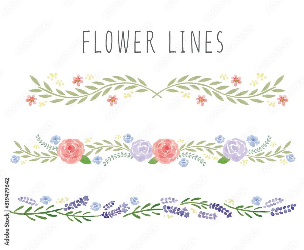 水彩の花ラインセット <span>plik: #319479642   autor: まるまる</span>