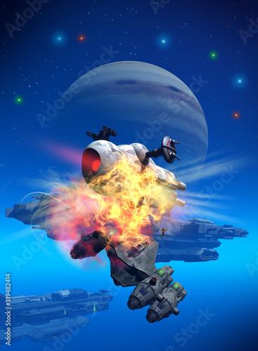 Fotografie, Obraz spaceships battle near a planet