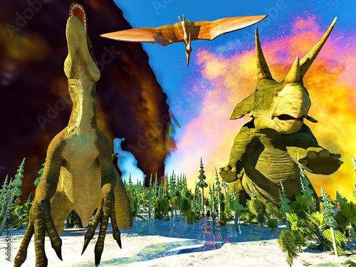 Fotografia Dinosaur doomsday coming on 3d rendering