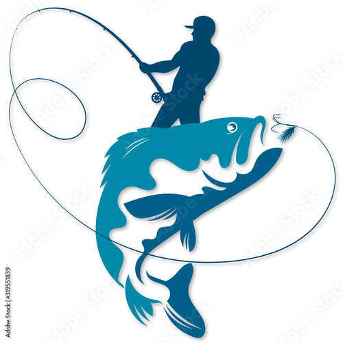 Fotografiet Fisherman with fishing rod in his hands caught a fish silhouette