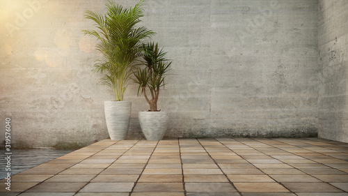 Canvas Print Concrete wall and Plant in pot on stone flooring tile, background