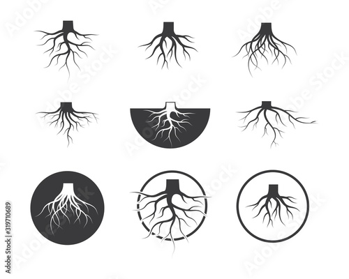 Canvas Print tree roots vector icon illustration design