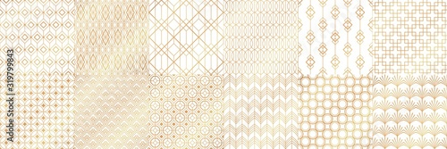 Golden art deco patterns. Decorative tiles, vintage white and gold seamless pattern and geometric stripes vector set. Collection of elegant retro textures or backdrops with shiny lines in 1920s style.