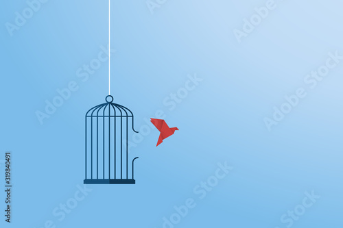 Obraz na plátne Flying bird and cage